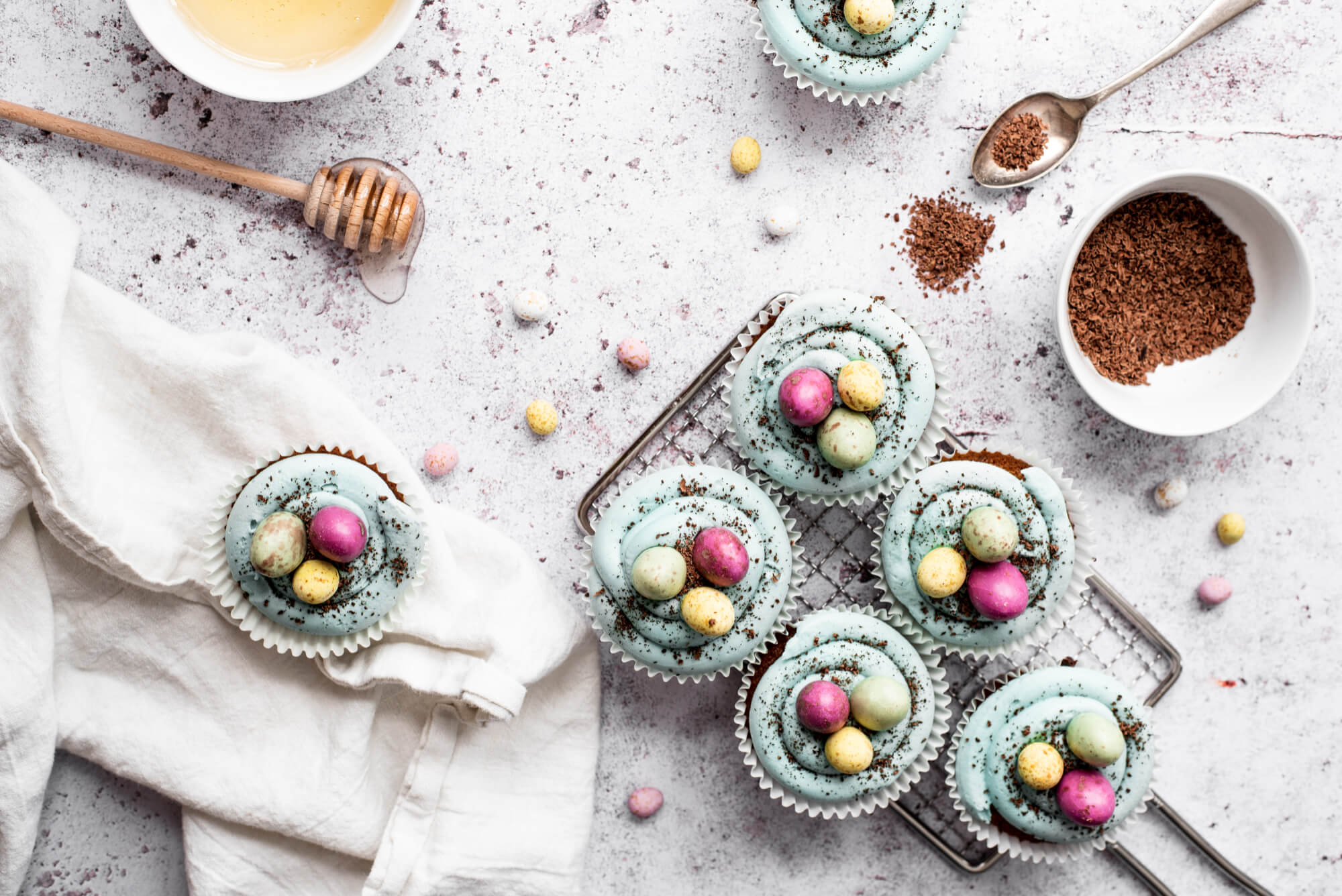 milka and honey easter cupcakes